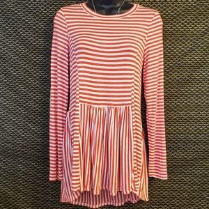 My Story Long Sleeve Tunic Dress Striped Red White